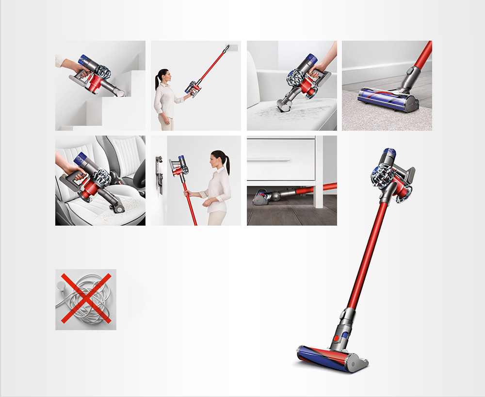 The various methods of using the Dyson V6 Cord-free vacuum to clean around the house and in the car, showing it's versaitility.