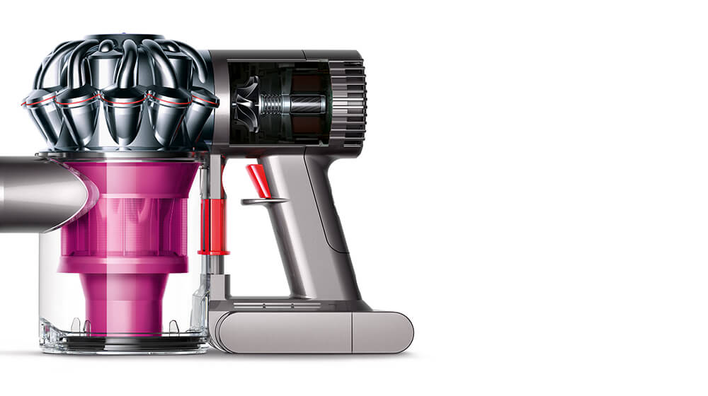 Cut-away image of V6 Trigger+ vacuum cleaner showing the Dyson Digital Motor V6